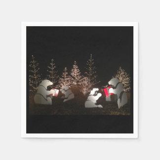 白くまのクリスマスのナプキン-多数のサイズ スタンダードカクテルナプキン