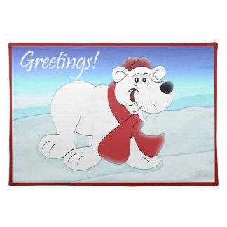白くまのクリスマスの休日 ランチョンマット