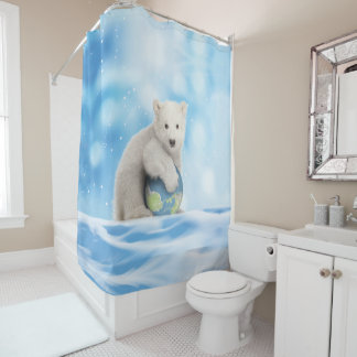 白くまの北極世界のシャワー・カーテン シャワーカーテン