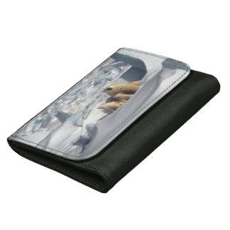 白くまの北極野性生物の黒の革財布