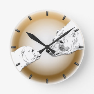 白くまの時計の母及びカブスは芸術の柱時計に耐えます ラウンド壁時計