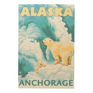 白くま及びカブス-アンカレッジ、アラスカ ウッドウォールアート