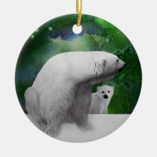 白くま、幼いこどもおよびNorthern Lightsのクリスマスツリー セラミックオーナメント