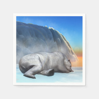 白くま- 3Dは描写します スタンダードカクテルナプキン