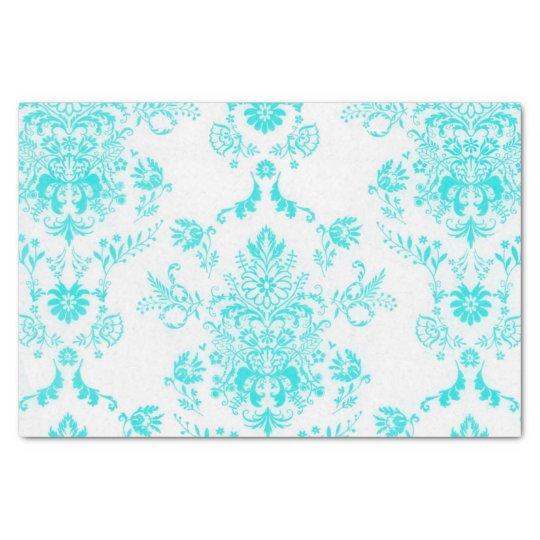 白くシックなデザインの水のダマスク織 薄葉紙