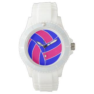 白くスポーティなピンクおよび青いバレーボールの腕時計 腕時計