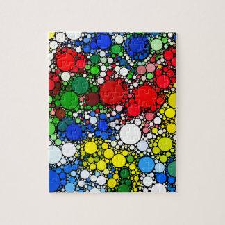 白く及び青の黄色く赤い水玉模様 ジグソーパズル