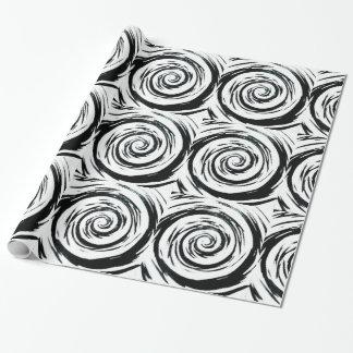 白く及び黒い催眠性の渦巻の芸術 ラッピングペーパー