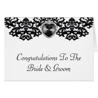 白く及び黒く華美なハートの吊り下げ式の結婚式 カード