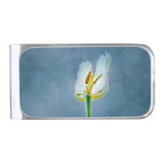 白く容赦ないチューリップの花 銀色 マネークリップ