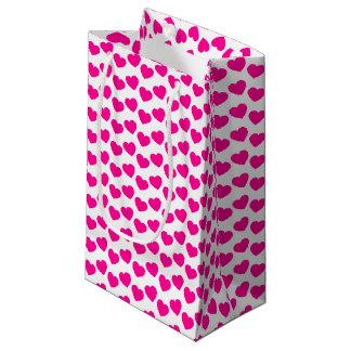 白く小さいギフトバッグのピンクのハートパターン スモールペーパーバッグ