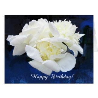 白く日本のなシャクヤクの誕生日の挨拶状 カード