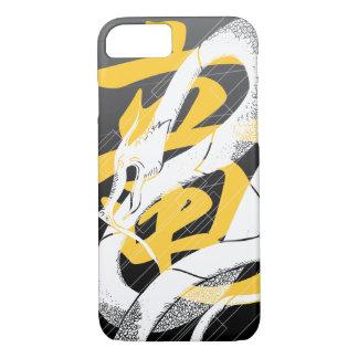 白く日本のなドラゴンの黒の背景 iPhone 8/7ケース