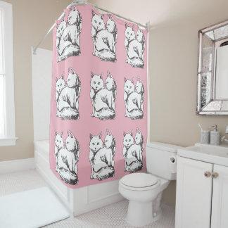 白く柔らかい猫のピンクのシャワー・カーテン シャワーカーテン