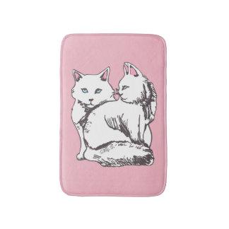 白く柔らかい猫のピンクのバス・マット バスマット