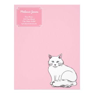 白く柔らかい猫の真珠のピンクのカスタムレターヘッド レターヘッド