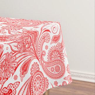 白く華美なペイズリーで赤い華美なバレンタイン テーブルクロス