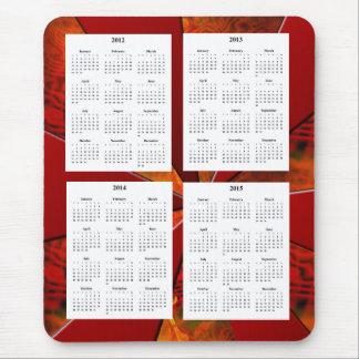 白く赤いデザインのBaの4年のカレンダー(2012-2015年) マウスパッド