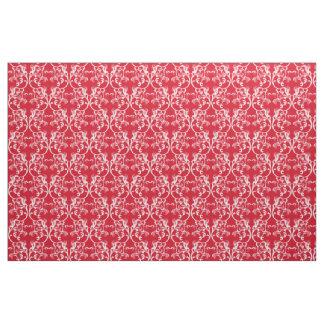 白く赤いパリのダマスク織パターン生地 ファブリック