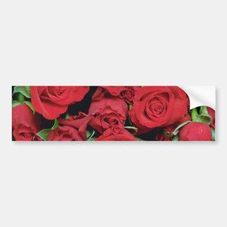 白く赤い恋人のバラの花 バンパーステッカー