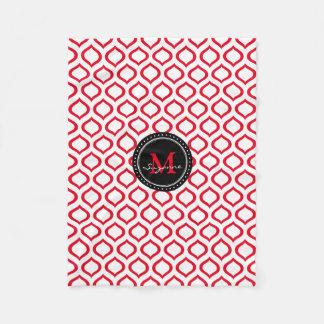 白く赤い格子垣パターン フリースブランケット