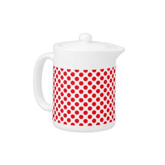 白く赤い水玉模様-ティーポット