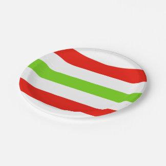 白く赤い緑を縞で飾ります ペーパープレート