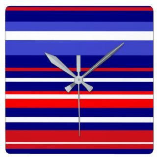 、白く赤い、大きい時計-青のコレクション! スクエア壁時計