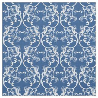 白く青いパリのダマスク織パターン生地 ファブリック