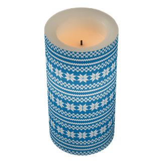 白く青い北欧のクリスマスのセーターパターン蝋燭 LEDキャンドル