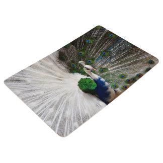 白く青い孔雀 フロアマット