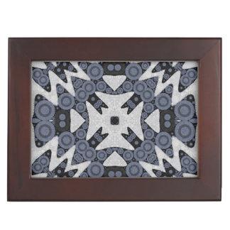 白く青い波状の抽象芸術 ジュエリーボックス