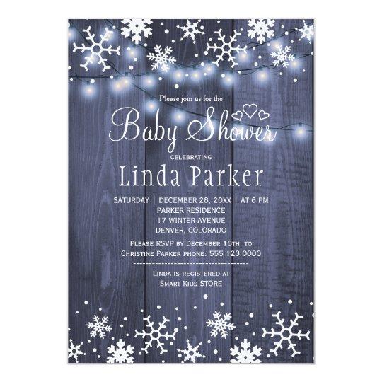 白く青い雪片の素朴な冬のベビーシャワー 12.7 X 17.8 インビテーションカード