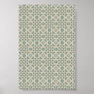 白く青く幾何学的なパターン背景 ポスター