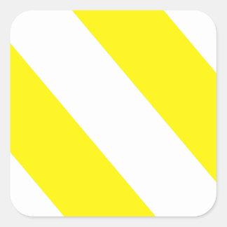 白く黄色い関心は縞で飾ります スクエアシール
