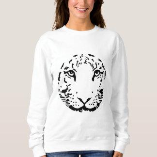 白く黒いトラの顔の円猫 スウェットシャツ