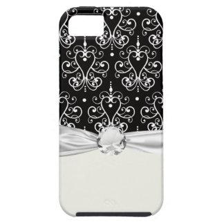白く黒いハートのシャンデリアのぼろぼろのダマスク織パターン iPhone SE/5/5s ケース