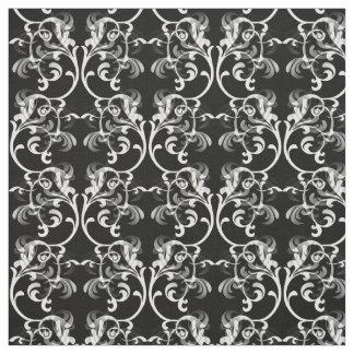 白く黒いパリのダマスク織パターン生地 ファブリック