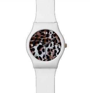 白く黒いブラウンのチータの抽象芸術 腕時計