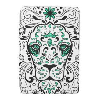 白く黒い及び緑のグリッターのライオンの砂糖のスカル iPad MINIカバー