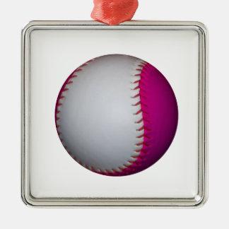 白く、ピンクのソフトボール シルバーカラー正方形オーナメント