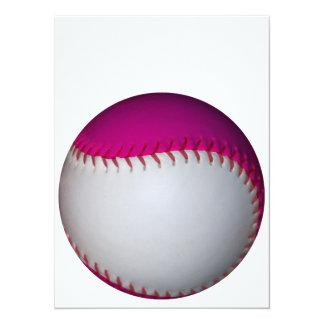 白く、ピンクのソフトボール 14 X 19.1 インビテーションカード