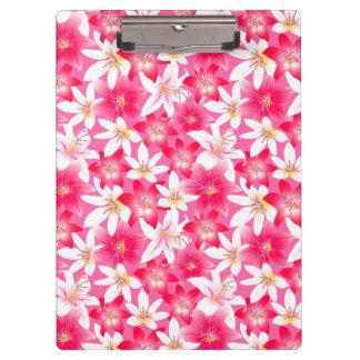白く、ピンクのハイビスカスの花柄 クリップボード