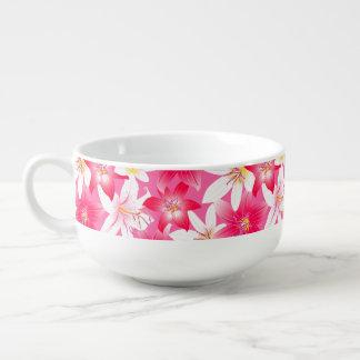 白く、ピンクのハイビスカスの花柄 スープマグ