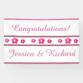 白く、ピンク結婚式または婚約パーティの旗 横断幕