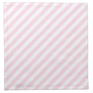 白く、淡いピンクの縞 ナプキンクロス