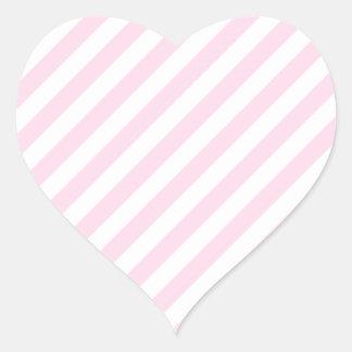 白く、淡いピンクの縞 ハートシール