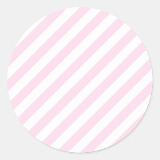 白く、淡いピンクの縞 ラウンドシール