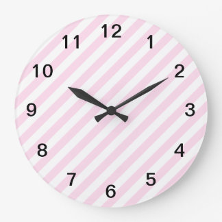 白く、淡いピンクの縞 ラージ壁時計