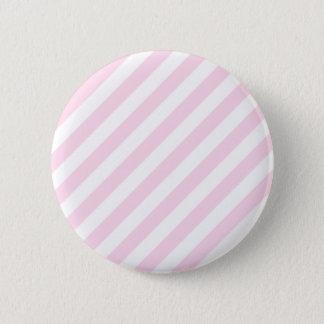 白く、淡いピンクの縞 5.7CM 丸型バッジ
